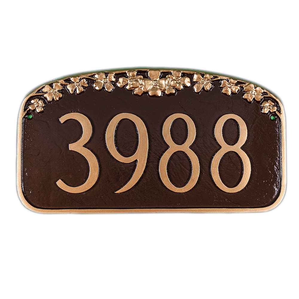 dogwood address plaque address sign 7 5 x 13 5 by montague metal made in the usa www custom. Black Bedroom Furniture Sets. Home Design Ideas
